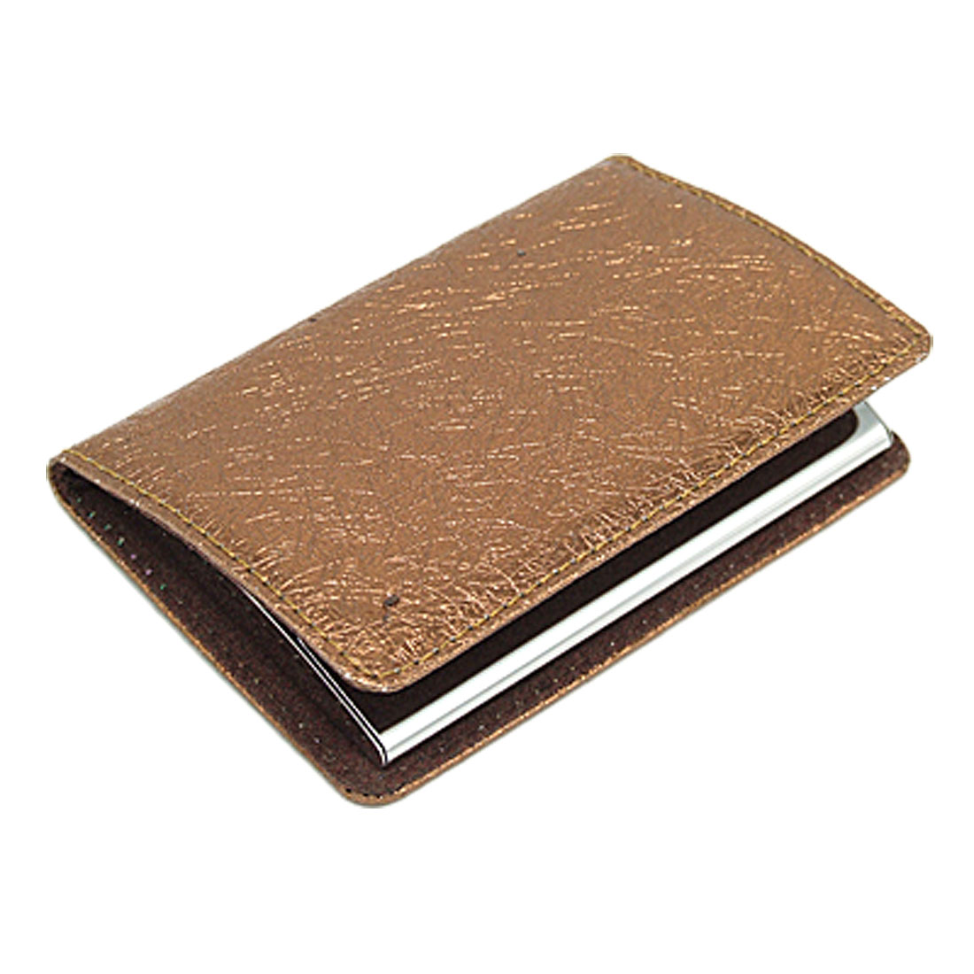 Brown Wallet Style Leather Business ID Card Holder for Ladies