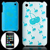 Cherry Pattern Hard Blue Back Plastic Case for iPhone 3G / 3GS