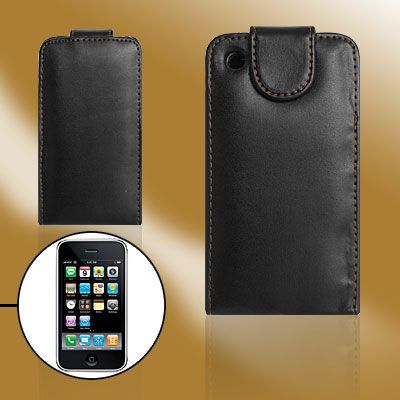 Vertical Flip Soft Lining Black Holder Case for Apple iPhone 3G / 3GS