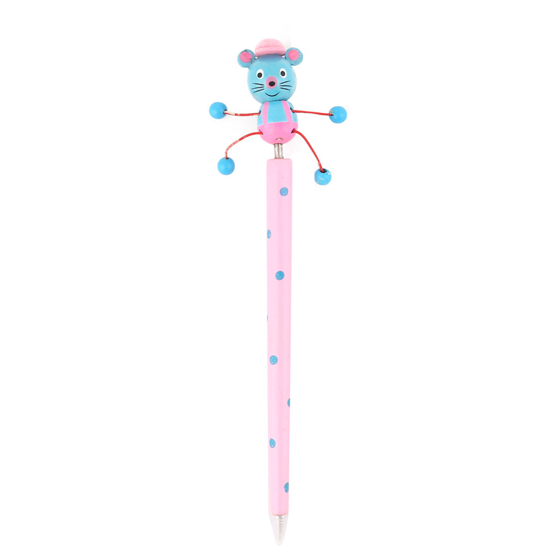 Cartoon Mouse Wooden Ball Point Pen with Spring Pink