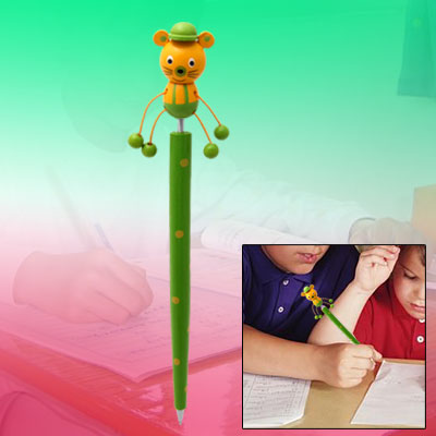 Cartoon Mouse Wooden Ball Point Pen with Spring