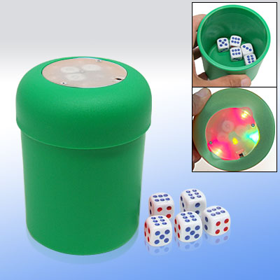 Flashing LED Dice Shot Cup Yahtzee Bunco Games w/ 5 Poker Dice - Green