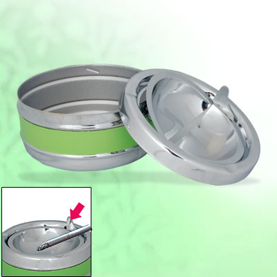 Household Room Stainless Steel Round Cigarette Cigar Smokeless Ashtray Green