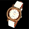 Stylish White Leather Watchband Round Wrist Watch for Ladies