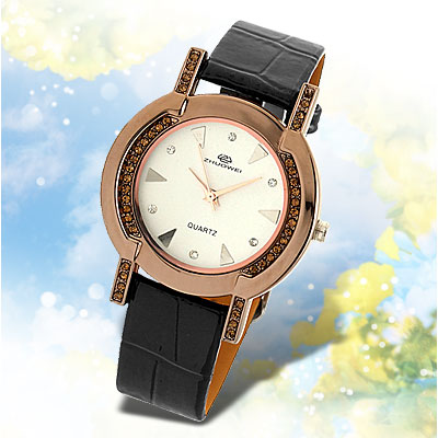 Stylish White Dial Black Leather Watchband Round Ladies' Watch