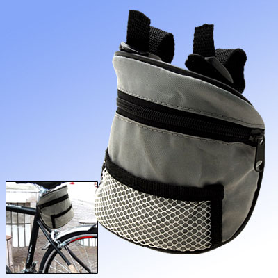 Gray Zipper Nylon Bicycle Bag for Mp3