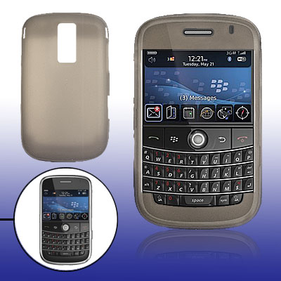 Smooth Silicone Skin Case Cover for BlackBerry 9000 Gray
