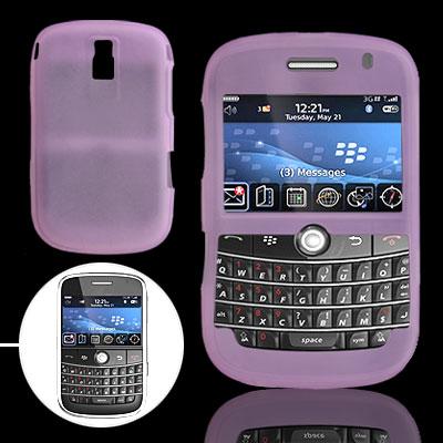 Purple Silicon Skin Case Cover for BlackBerry Bold 9000