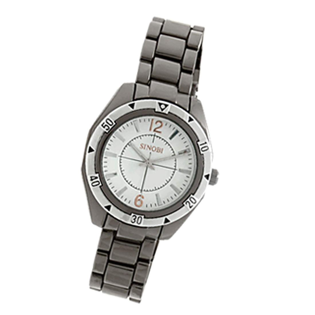 White Dial Metal Watchband Round Men's Quartz Watch