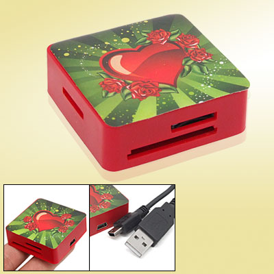 Smart Mini USB 2.0 Multi Slot All in 1 Memory Card Reader Writer with Red Heart Pattern