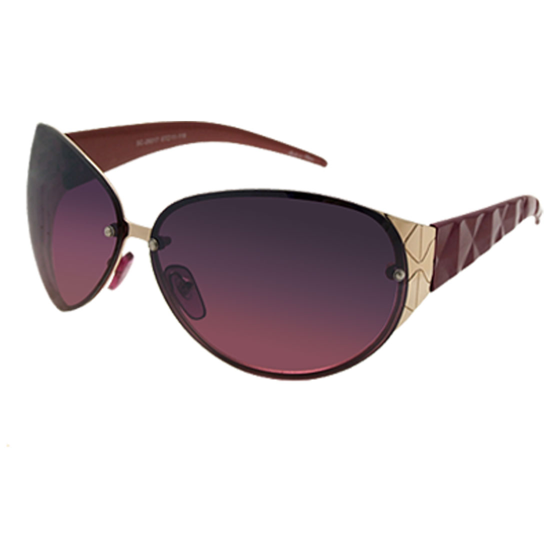 Metal Frame Purple Oval Lens Women Lady Fashion Sunglasses