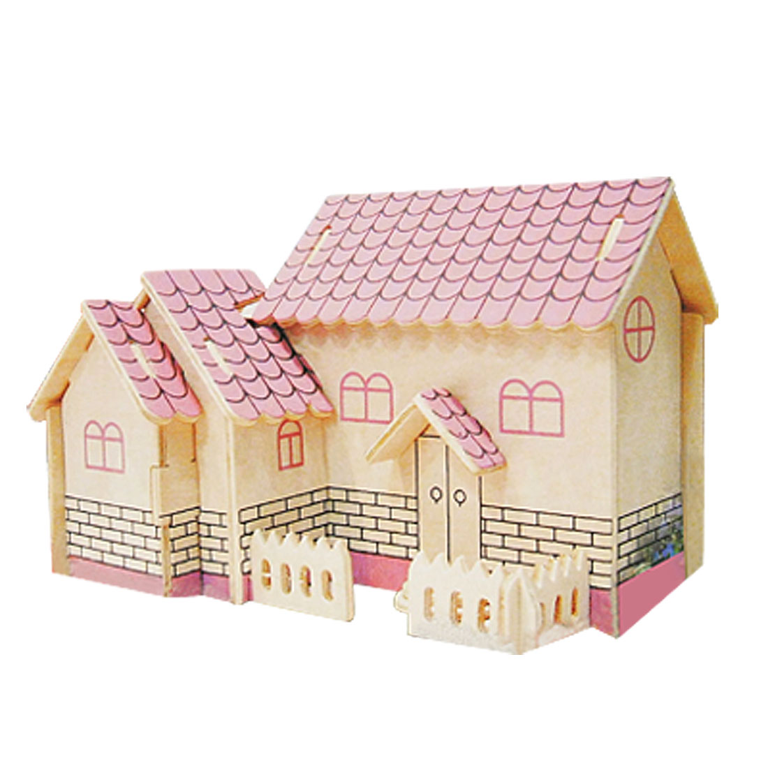 Purple House 3D Model Puzzle Toy Woodcraft Construction Kit
