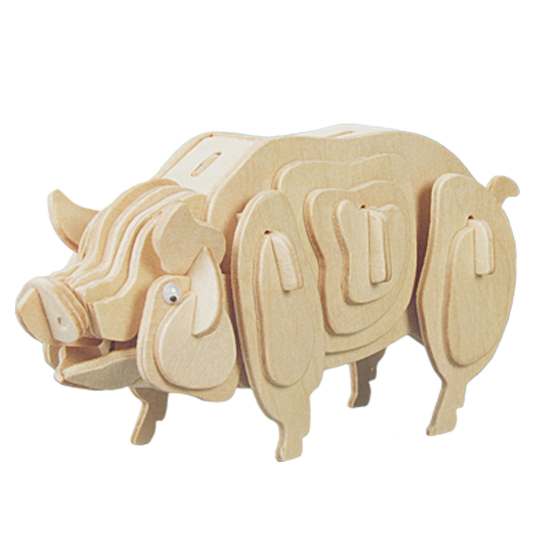 Pig Model Woodcraft Construction Kit Wooden Puzzle Toy