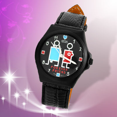 Black Cute Forever Friends Unisex Round Charm Wrist Watch w/Leather Strap