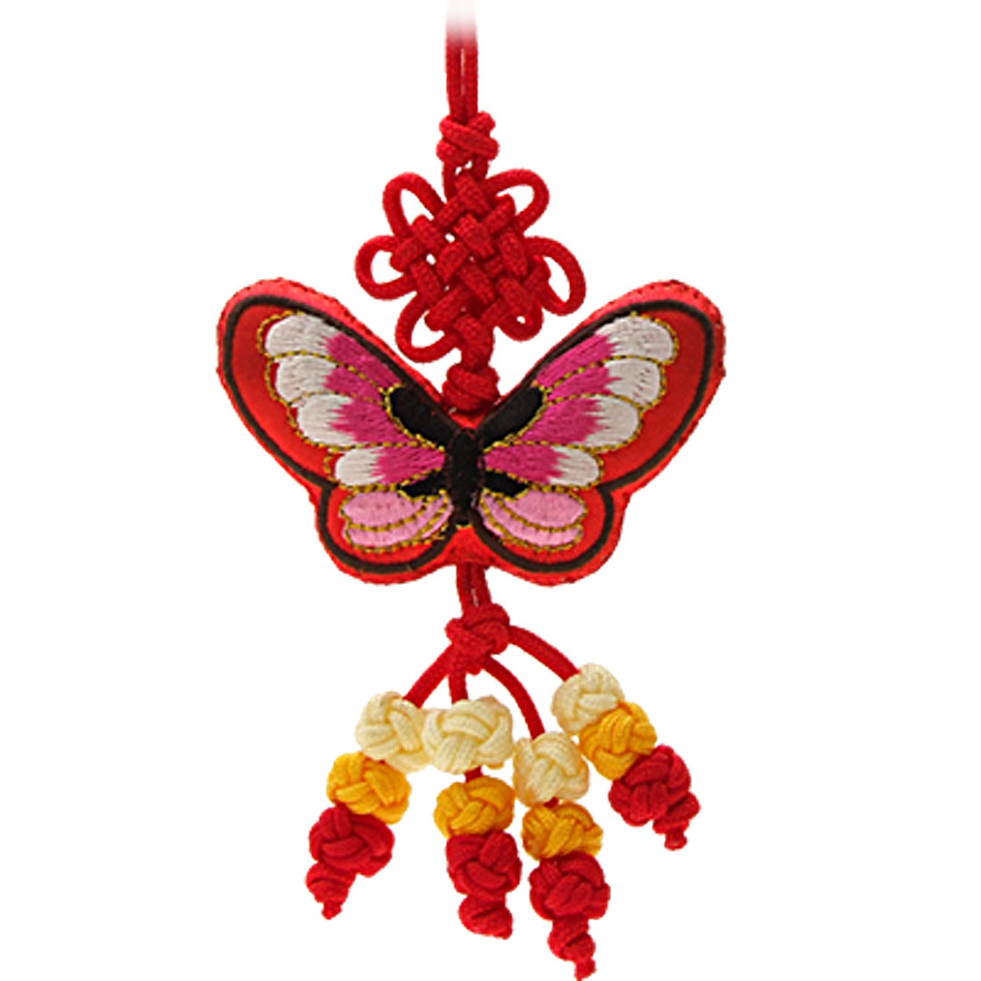 Red Butterfly Embroidery Chinese Knot Oriental Ornament