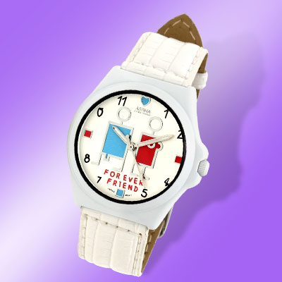 Fashion Cartoon Person Pattern Leather Wrist Watch