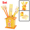 Yellow Cartoon House Wooden Pen Holder Back to School Stationery Set