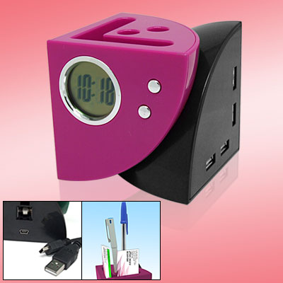 4 in 1 Purple Black USB HUB Clock Pen Holder Business Card Holder