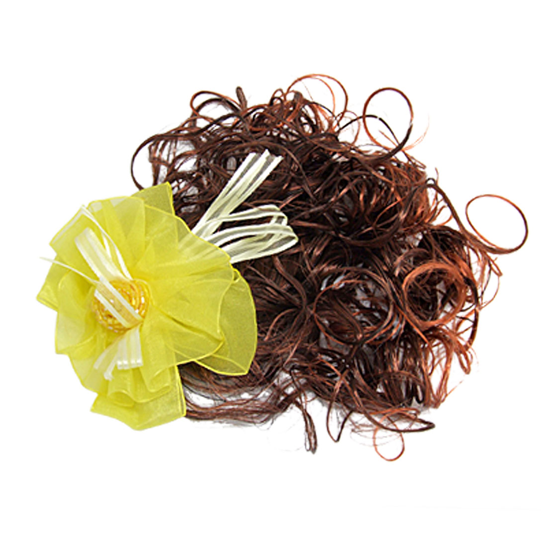 Curly Girls Brown Wig Hairpiece w Yellow Flower Hair Clip