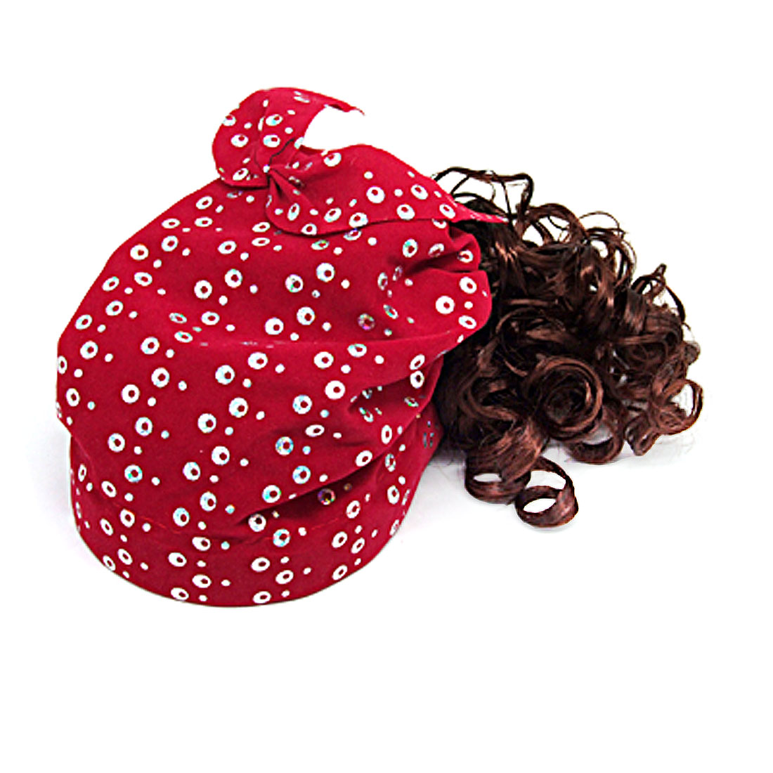 Red Girls Cap Hat with Brown Curly Wig Hairpiece Combo