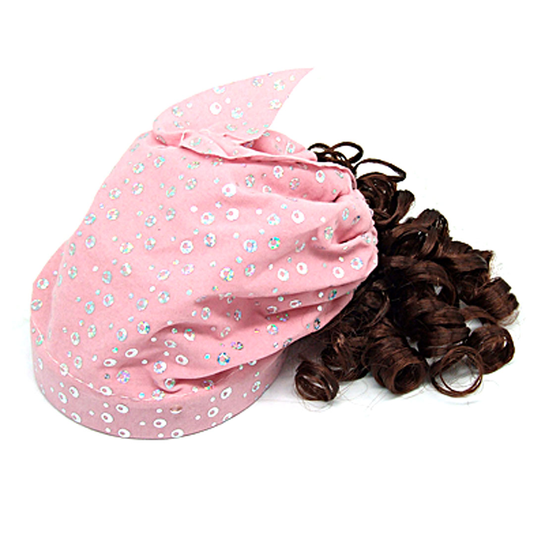 Girls Pink Cap w Brown Synthetic Hair Curly Wig Hairpiece
