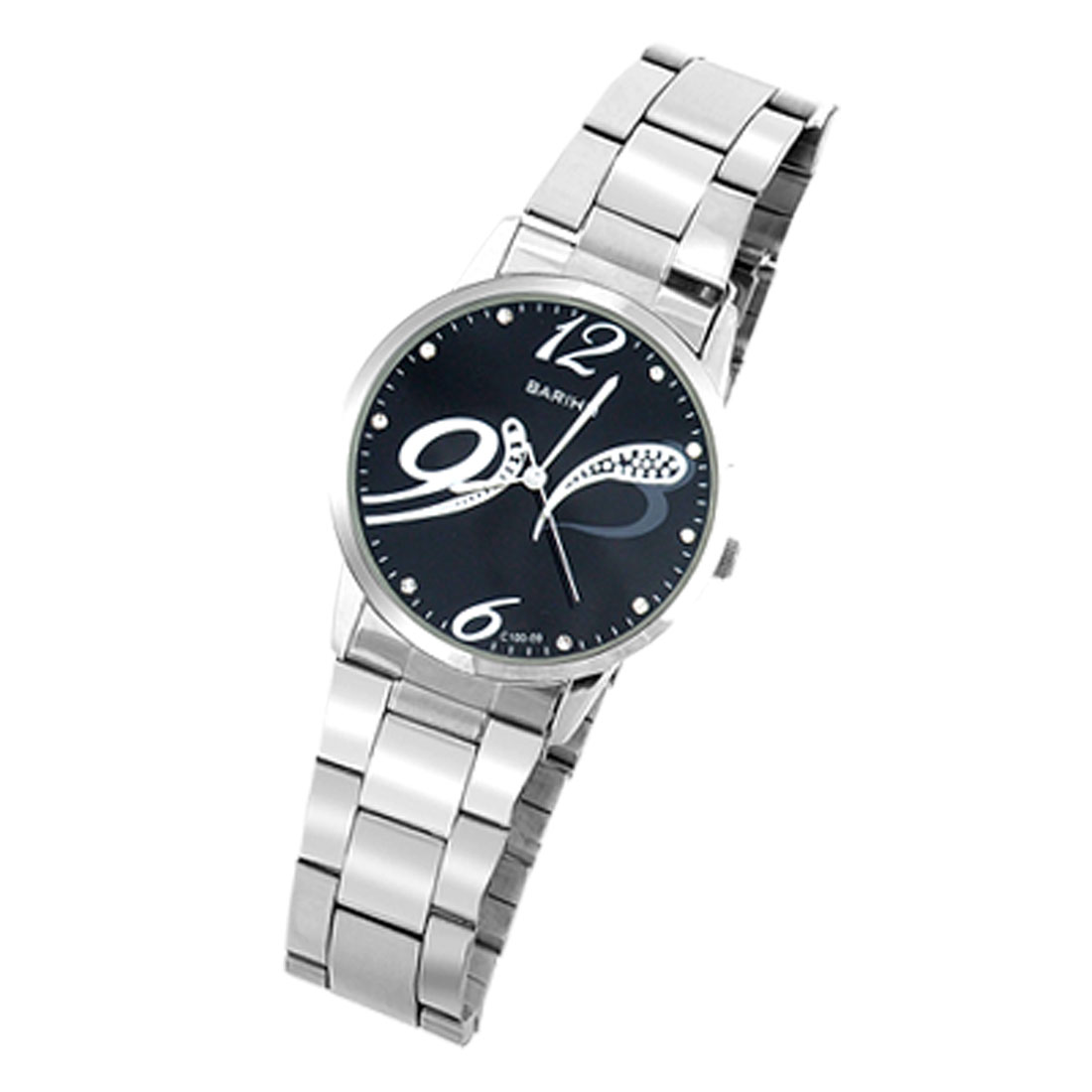 Fashion Metal Quartz Wrist Watch with Black Dial for Ladies