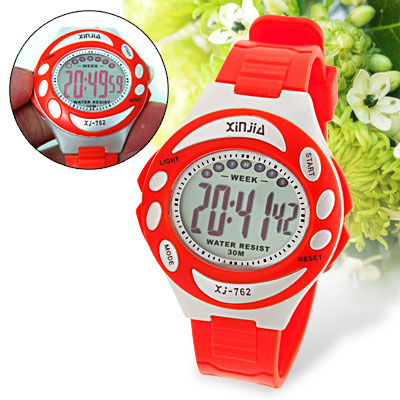 Multi-Function Girls Digital Sports Wrist Alarm Watch Red
