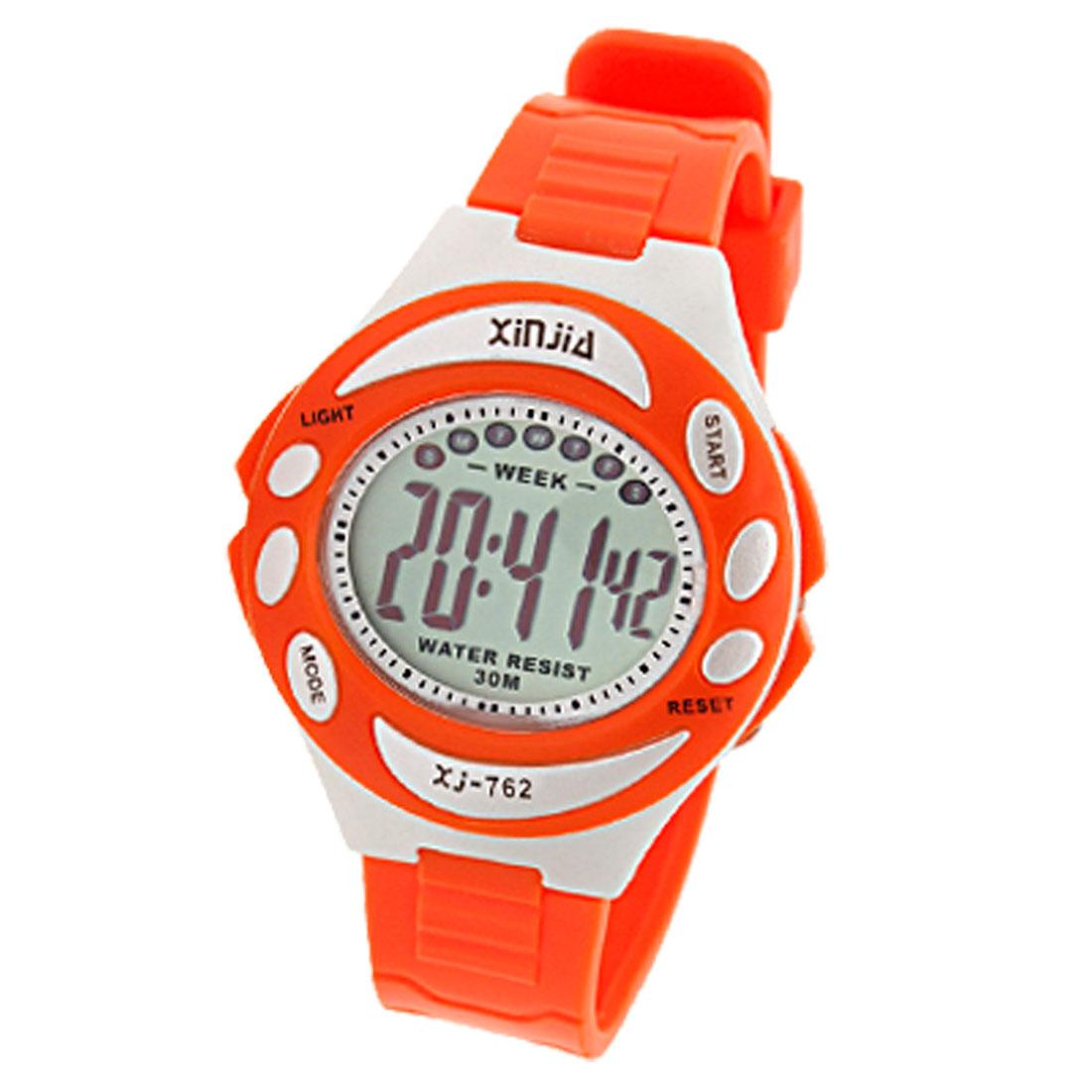 Girls Digital Sports Wrist Watch Orange with Cold Light