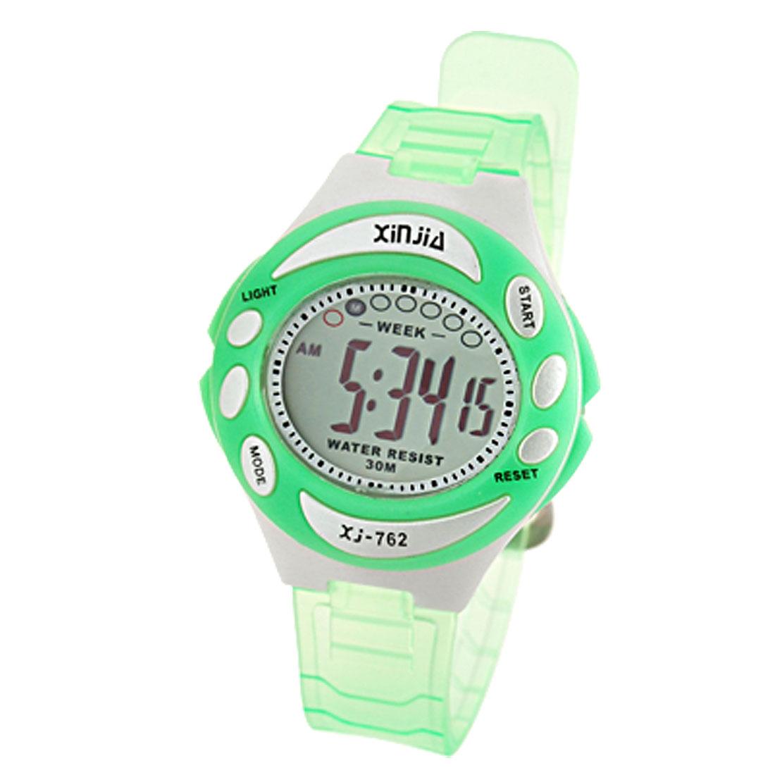 Child Girls Green Fashion Digital Sports Wrist Watch Stopwatch