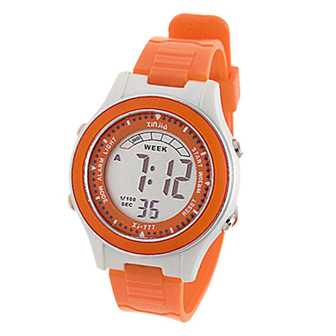 White Orange Digital LCD Sports Alarm Wrist Watch for Kids Children