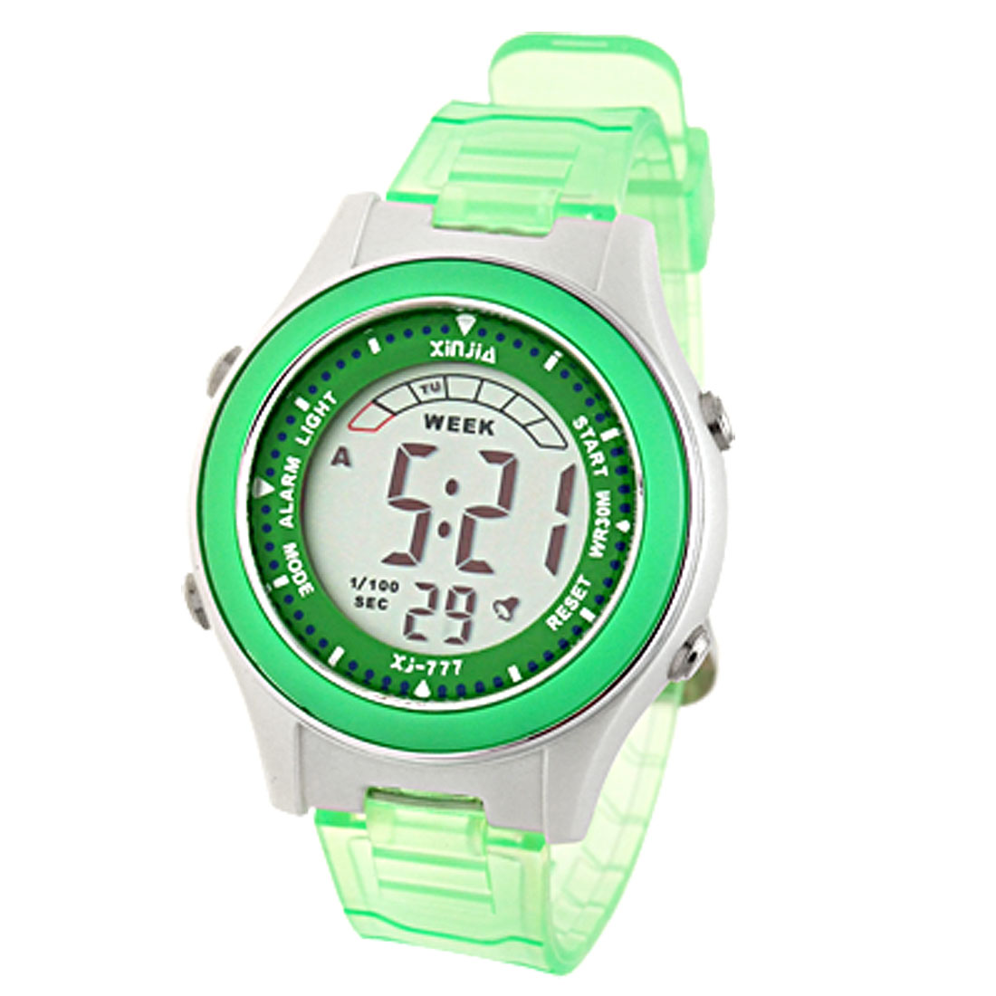 Green Digital Cold Light Sports Alarm Wrist Watch for Girls Children