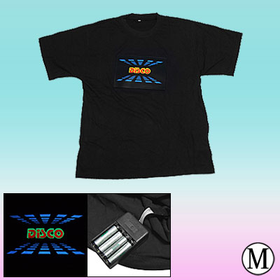 Sound-activated Grahphic Equalizer Flashing EL Digital T-shirt - Size M