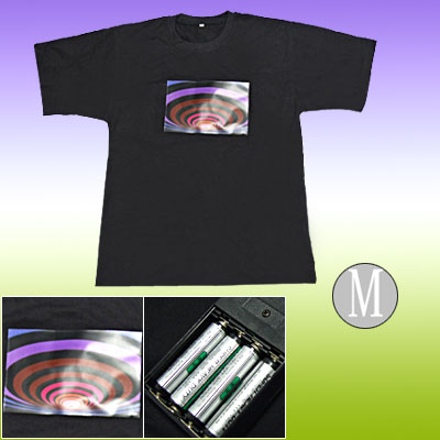 Size: M Sound-activated Flashing EL Digital T-shirt Concert Disco Hip Hop