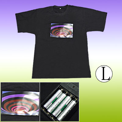 Pub Disco DJ Flash LED Sound-activated Flashing EL Digital T-shirt Size L