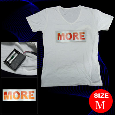 White Girls Flashing Dancing LED Sound-activated EL Digital T-shirt-Size M