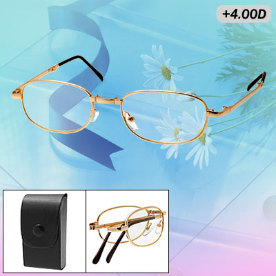 Metal Frame +4.0D Folding Presbyopic Magnifying Glasses Spectacles
