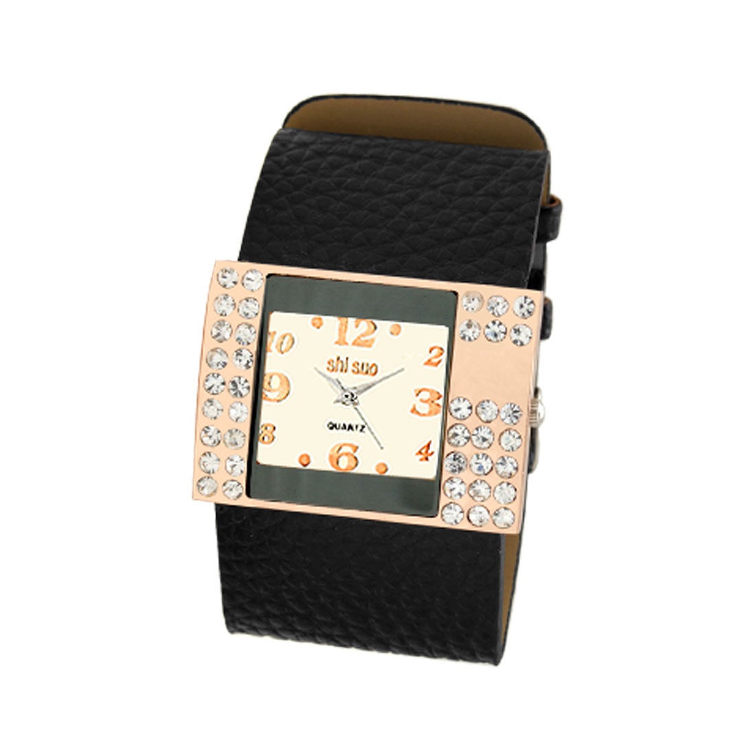 Fashion Wide Black Leather Watchband Rhinestone Rectangle Watch
