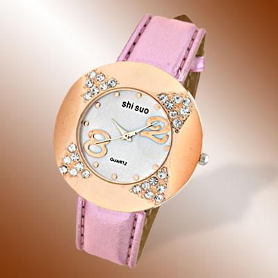 Strap Golden Watch Case Rhinestone Women's Watch