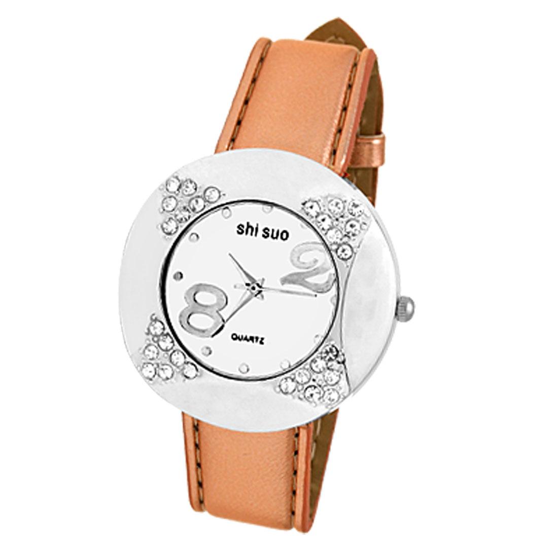 Fashion Leather Strap w/Rhinestone Watch Case Ladies' Watch