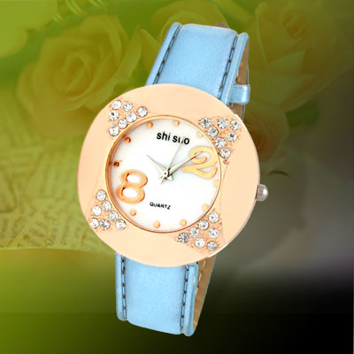 Blue Leather Watchband Golden Watch Case Ladies' Watch