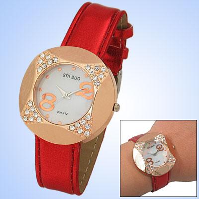 Fashion Crystal Golden Watchcase Ladies Leather Wrist Watch
