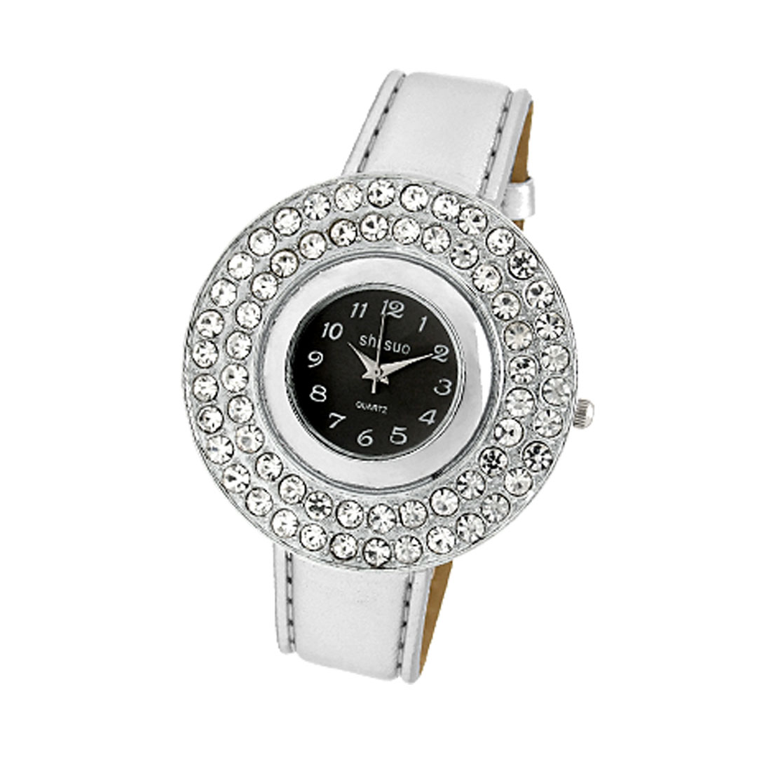 White Leather Strap Rhinestone Round Watch Case Watch