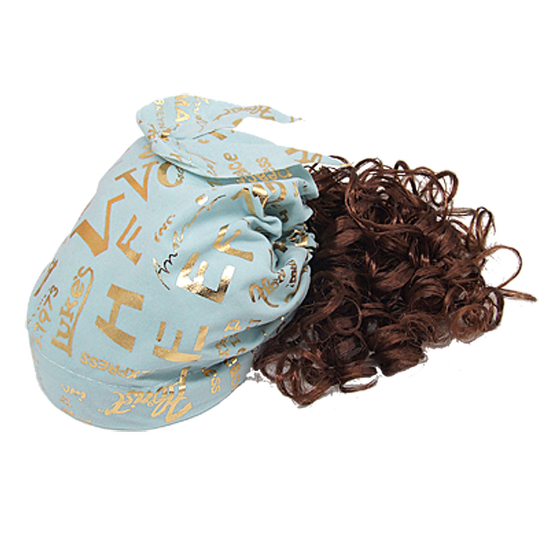 Girl Brown Curly Wig w Letters Print Bandana Cap Blue