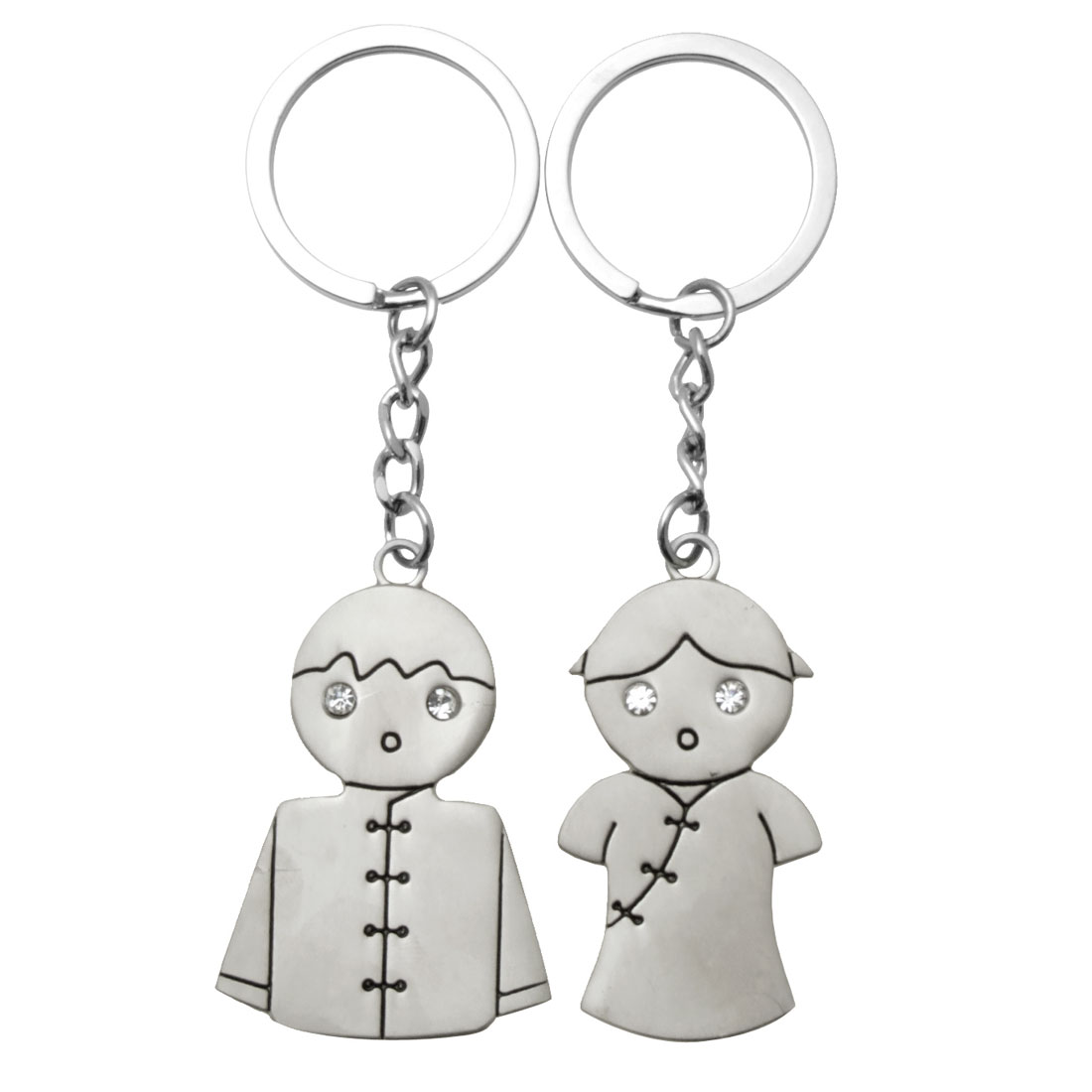 Silvery Chinese Couple Doll Pair Keychain Valentine's Day Gift