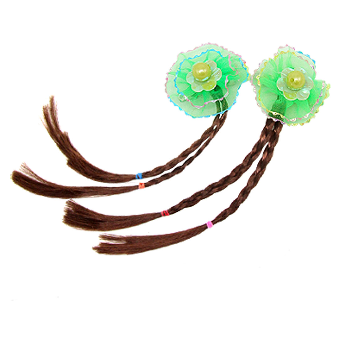 Girl Green Flower Faux Hair Clip Braided Plait Wig Hairpiece