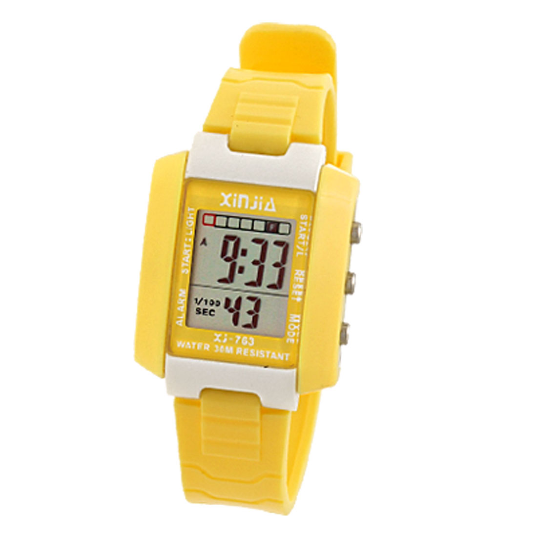 Children Kids Sports Digital Alarm Wrist Watch Stopwatch Yellow