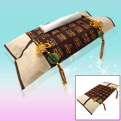 Flax Tissue Paper Cover Case with Chinese Knot