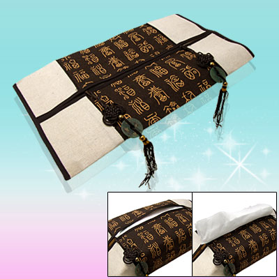 Decorative Flax Tissue Paper Cover Case w/ Chinese Knot
