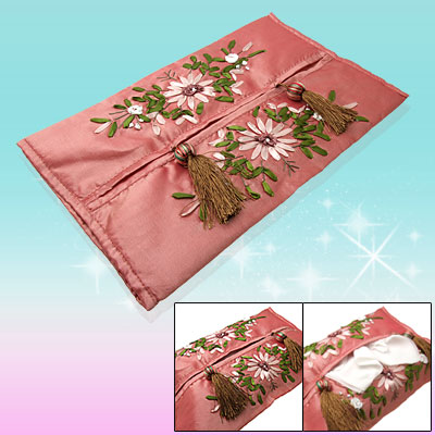 Chinese Silk Satin Embroidery Tissue Paper Cover Case