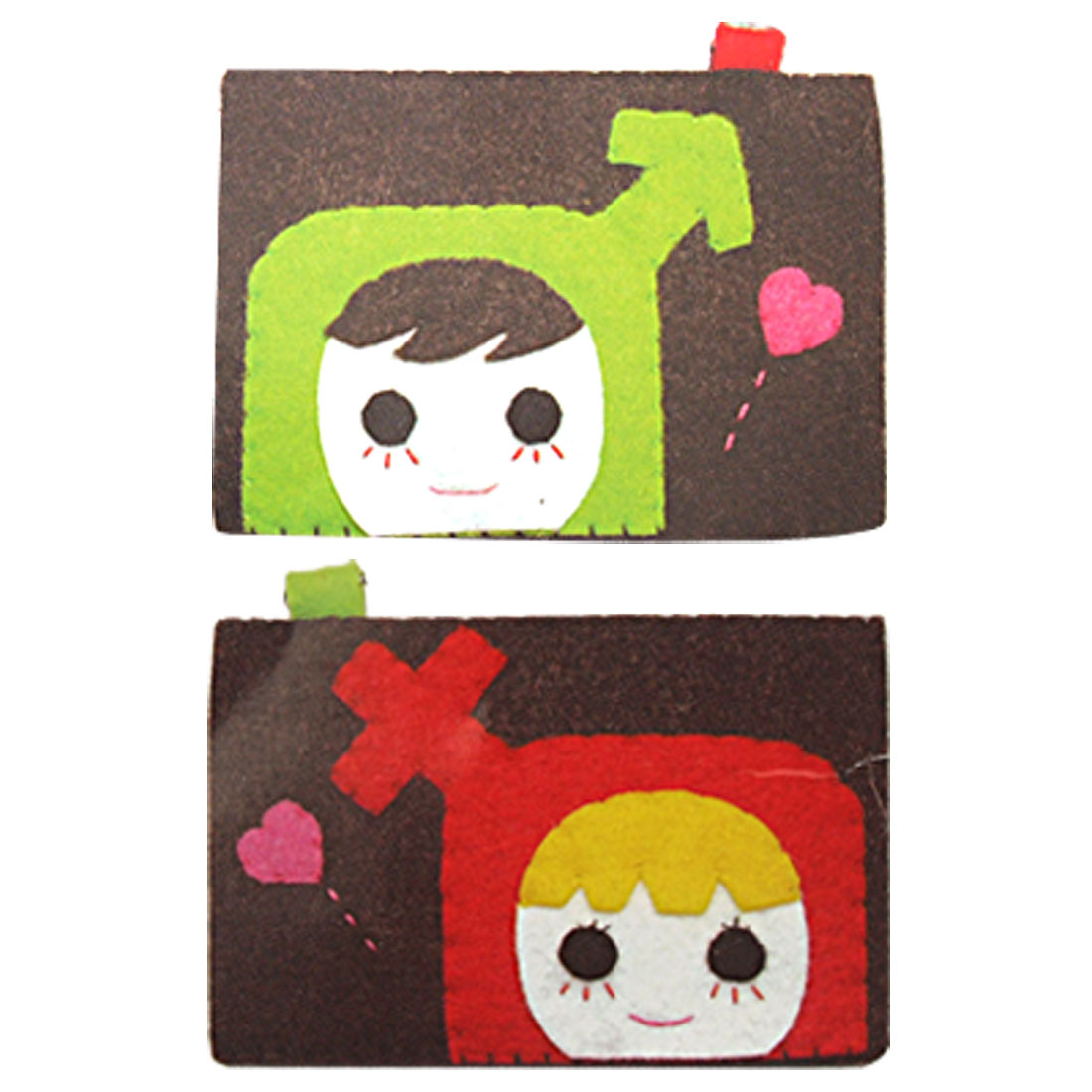 Girl Pattern Fabric Stitch Handicraft Business Credit Card Holder